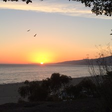 A Santa Monica sunset. The view from our front yard, Palisades Park.