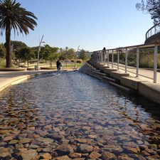 Water in Tongva Park. Our city's newest park features water, trees, ocean views, children and...you.
