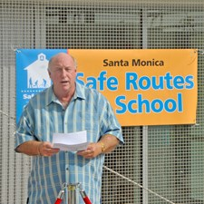 Speaking at a Safe Routes To School day event.