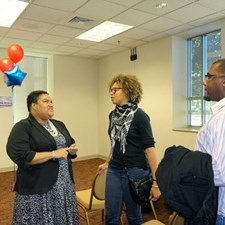 Marcia talking with other young political minds - Photo by AG Price