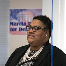 Marcia speaking about her vision for the 95th District - Photo by DB Wallace