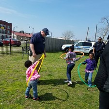 NN CRO Greathouse leading an epic hula hoop battle at the Easter Basket Giveawy hosted by Councilwoman Cherry