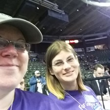 Misty and her wife Lisa sitting in the El Paso County Seating area.