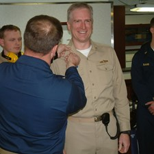 My promotion to Lieutenant Commander, while serving my department head tour in USS FORD (FFG 54)