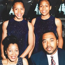 Andrew and his wife, Shelia, and their daughters Aryn (right) and Kristyn (left) from 1997.