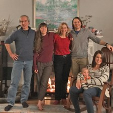 Jeff and Nancy with daughter Jamie (barefoot), son Jody (both ETHS grads), daughter-in-law Amanda, and beloved grandson Austin! (Dec. 2016)