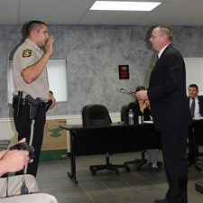 Matt administers the Oath of Officer to new Northern York County Regional Police Officer Tyler Zeller.